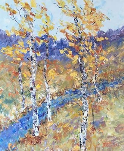 """Palette Knife Aspen Tree Colorado Landscape Painting Along The Stream by Colorado Impressionist J"" original fine art by Judith Babcock"