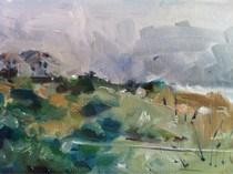 """""""Baldhead Island Landscape"""" original fine art by Clair Hartmann"""