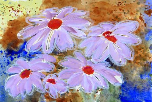 """ORIGINAL MIXED MEDIA DAISY PAINTINGS"" original fine art by Sue Furrow"