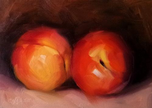 """Portrait of Two Peaches"" original fine art by Cindy Haase"