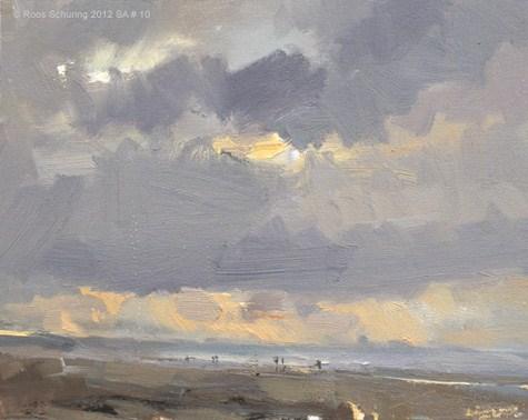 """Seascape autumn #10 Evening"" original fine art by Roos Schuring"