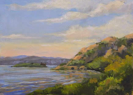 """Breakneck Ridge and Bannerman Island from Little Stony Point"" original fine art by Jamie Williams Grossman"