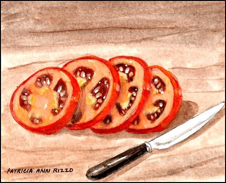 """Tomato Slices"" original fine art by Patricia Ann Rizzo"