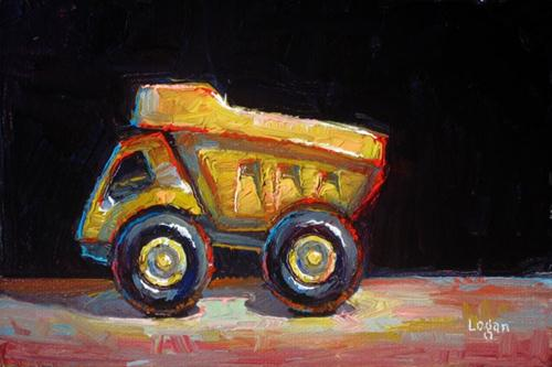 """Toy Truck Little and Yellow"" original fine art by Raymond Logan"