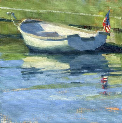 """Skiff with flag"" original fine art by Kathy Weber"