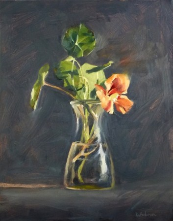 """Oil Painting of Nasturtium"" original fine art by Deb Anderson"