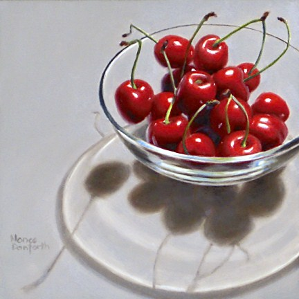 """Cherries in Glass Bowl III"" original fine art by Nance Danforth"