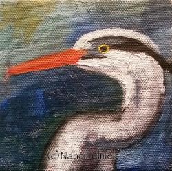"""Blue Heron 4×4 Mini"" original fine art by Nanci Fulmek"