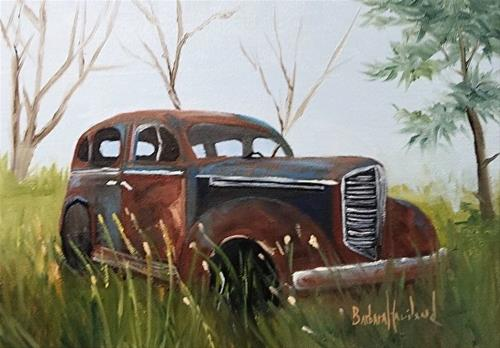 """Old Rusty Sedan II"" original fine art by Barbara Haviland"