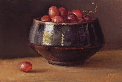 """Bowl of Red Grapes"" original fine art by Abbey Ryan"