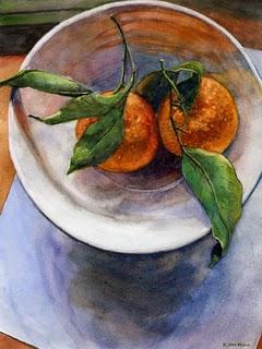 """""""Watercolor: Clementines for us, Darling?"""" original fine art by Belinda Del Pesco"""