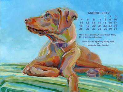 """March Desktop Calendar"" original fine art by Kimberly Santini"