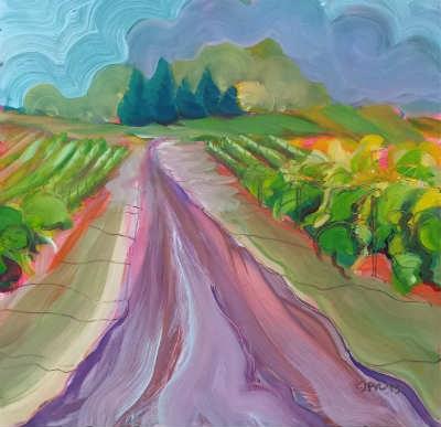 """""""Valley Morning 14 Vinyard"""" original fine art by Pam Van Londen"""
