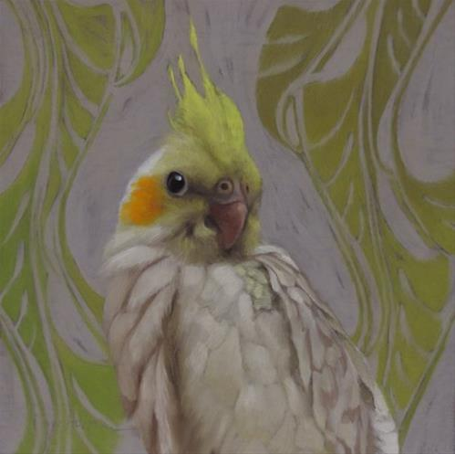 """Getting to Know You II,  Painting of a Cockatiel"" original fine art by Diane Hoeptner"