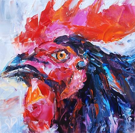 """Rainbow Rooster"" original fine art by Carol DeMumbrum"