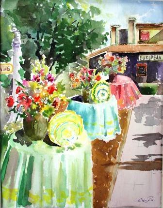 """European Living"" original fine art by Lisa Fu"