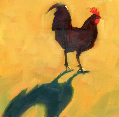 """Key West chickens"" original fine art by Kathy Weber"