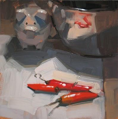 """""""Pepper Parade Passes Pig"""" original fine art by Carol Marine"""