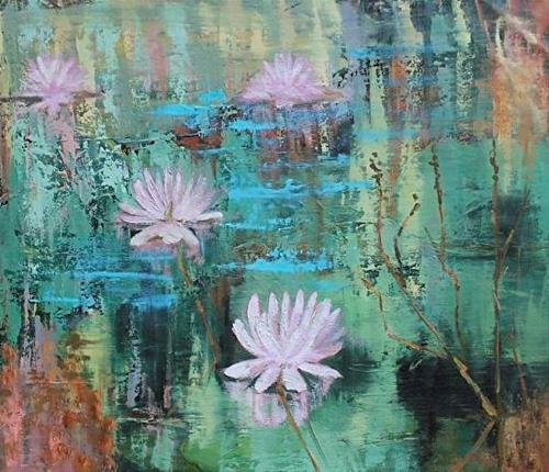 """Landscape Oil Painting Lily Pond III by Colorado Artist Susan Fowler"" original fine art by Susan Fowler"