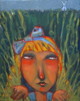 """Rabbits Make Alice Nervous"" original fine art by Brenda York"