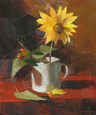 """Yellow Daisy"" original fine art by Qiang Huang"