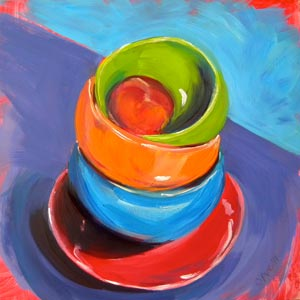 """Stacked Bowls with Peach"" original fine art by Pam Van Londen"