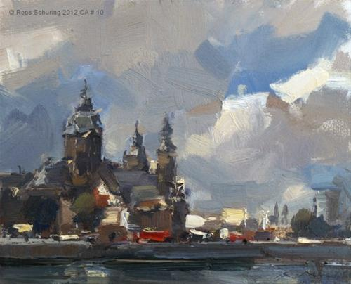 """Cityscape Amsterdam #10 Sint Nicolaaskerk"" original fine art by Roos Schuring"
