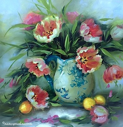 """The Perfect Man - Circle of Friends Tulips - Flower Paintings Workshops and Classes by Nancy Medina"" original fine art by Nancy Medina"