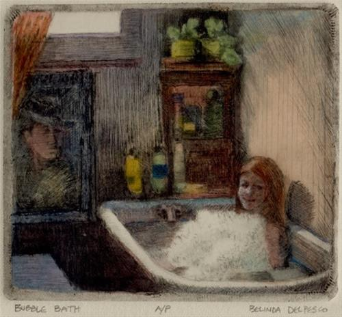 """Drypoint Engraving: Bubble Bath"" original fine art by Belinda Del Pesco"