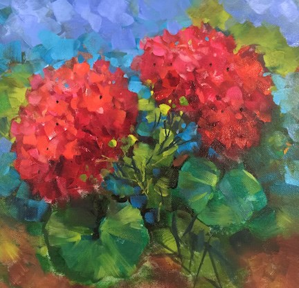 """Step by Step French Geraniums and Painting Flowers From Ancient Markets"" original fine art by Nancy Medina"