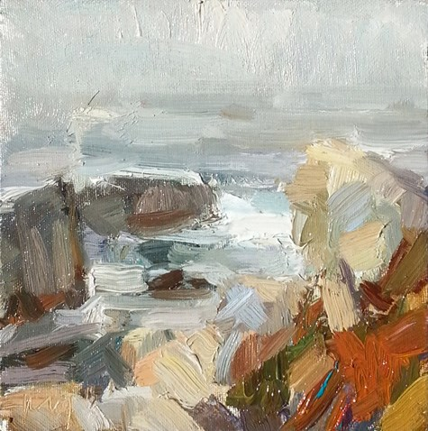 """Painting in California 19 Rocks in evening light (sold)"" original fine art by Roos Schuring"