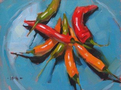 """Pepper Party --- SOLD"" original fine art by Carol Marine"