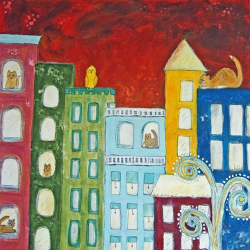 """High Rise Cats"" original fine art by Lou Belcher"