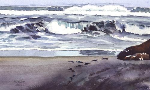 """Waves at Seaside Beach"" original fine art by Mariko Irie"