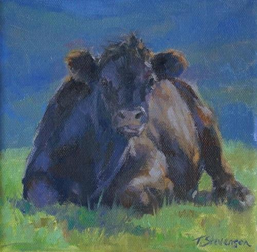 """Cow Contentment"" original fine art by Trish Stevenson"