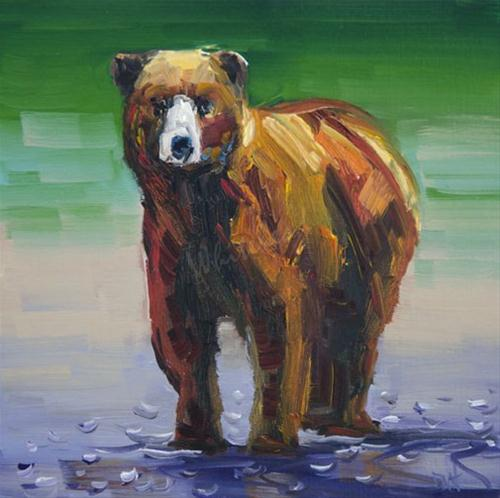 """#15 100 Days of 100 Continues! Little Bear Oil Painting Diane Whitehead"" original fine art by Diane Whitehead"