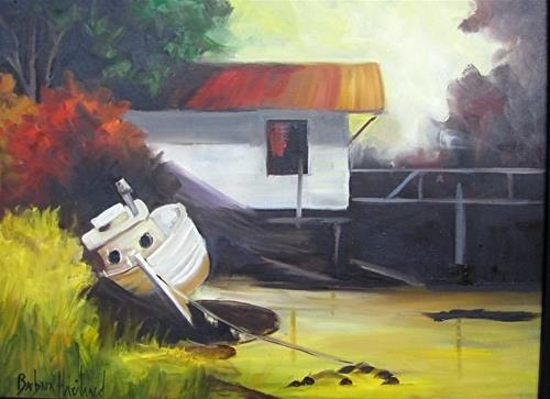 """Boat at the Dock   Landscape oil painting Barbara Haviland Texas Landscape Artist"" original fine art by Barbara Haviland"