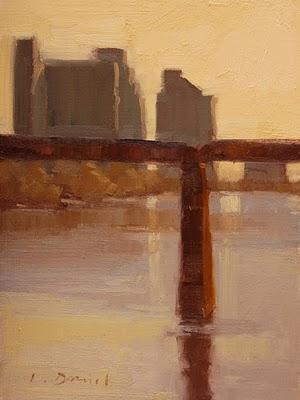 """""""City Silhouettes"""" original fine art by Laurel Daniel"""