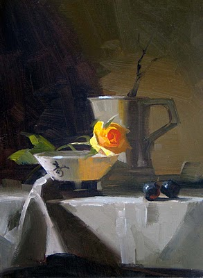 """Yellow Rose 2"" original fine art by Qiang Huang"