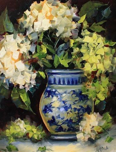 """Spring Green Hydrangeas by Texas Flower Artist Nancy Medina"" original fine art by Nancy Medina"