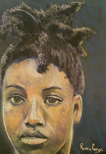 """African hairdo"" original fine art by Rentia Coetzee"