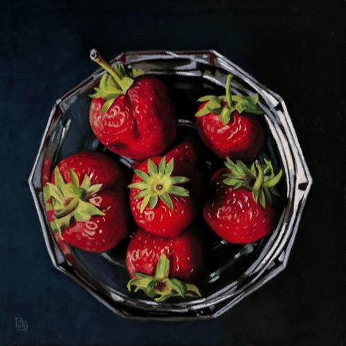 """Strawberry Bowl pastel painting"" original fine art by Ria Hills"