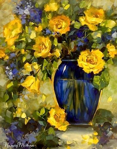 """High Altitude Yellow Roses and a North Texas Workshop by Nancy Medina"" original fine art by Nancy Medina"