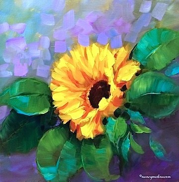 """Violet Sky Sunflowers and Going to the Birds - Flower Paintings by Nancy Medina"" original fine art by Nancy Medina"