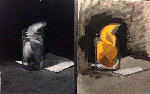 """Black and White and Orange Study 5"" original fine art by Chris Beaven"