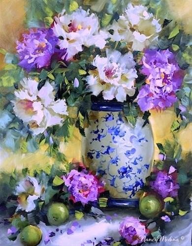 """The Sisterhood Peonies and a Florida Workshop - Flower Paintings by Nancy Med"" original fine art by Nancy Medina"