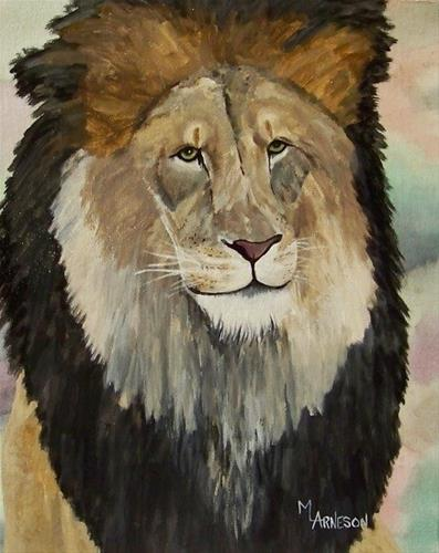"""Wildlife Art, Lion Painting Hear Me Roar by Mary Arneson Art-Works of Whimsy"" original fine art by Mary Arneson"