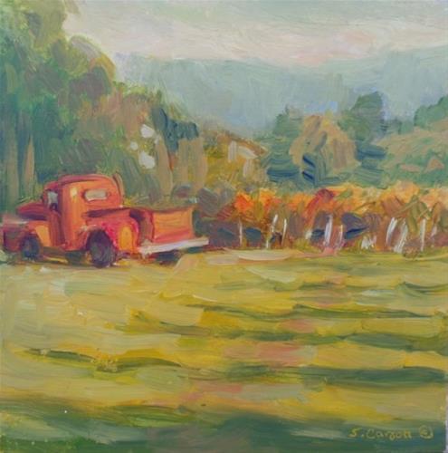 """""""Red Truck"""" original fine art by Suzanne Carson"""