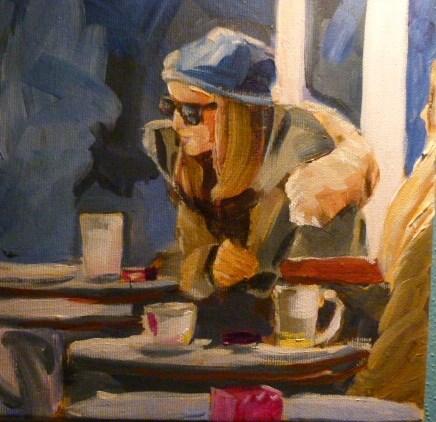 """""""Cappuccino trinken auf der Sraße"""" original fine art by Sabine Hüning"""