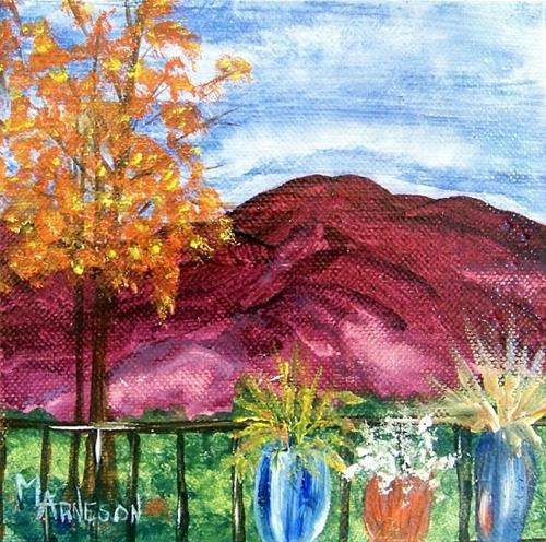 """Two Piece Landscape Oil Painting Through Rose Colored Glasses  by Mary Arneson Art-Works of Whimsy"" original fine art by Mary Arneson"